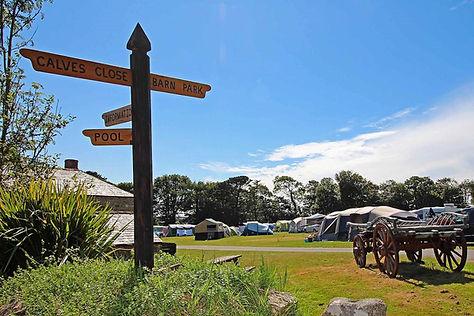 Trewan Hall campsite cornwall, summer camping field Barn Park