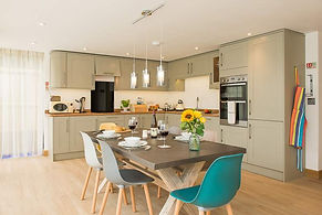 Trewan Hall campsite cornwall, kitchen of The Stables holiday home