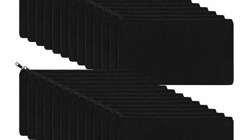 Black canvas zipper pouch