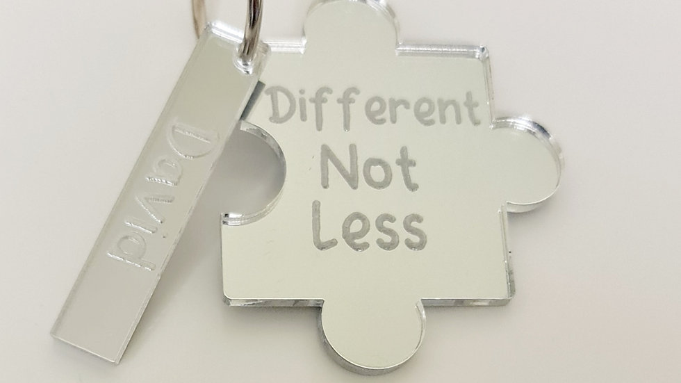 autism awareness keychain engraved mirrored acrylic