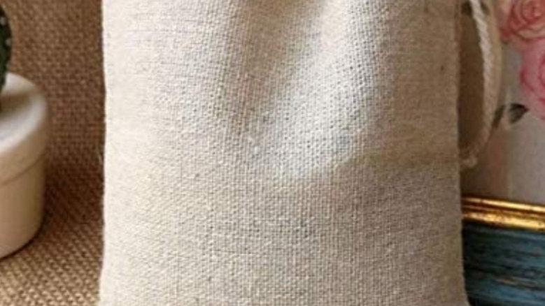Natural organic cotton drawstring bag
