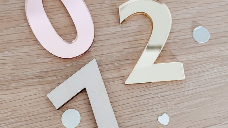 Acrylic numbers and letters 10cm