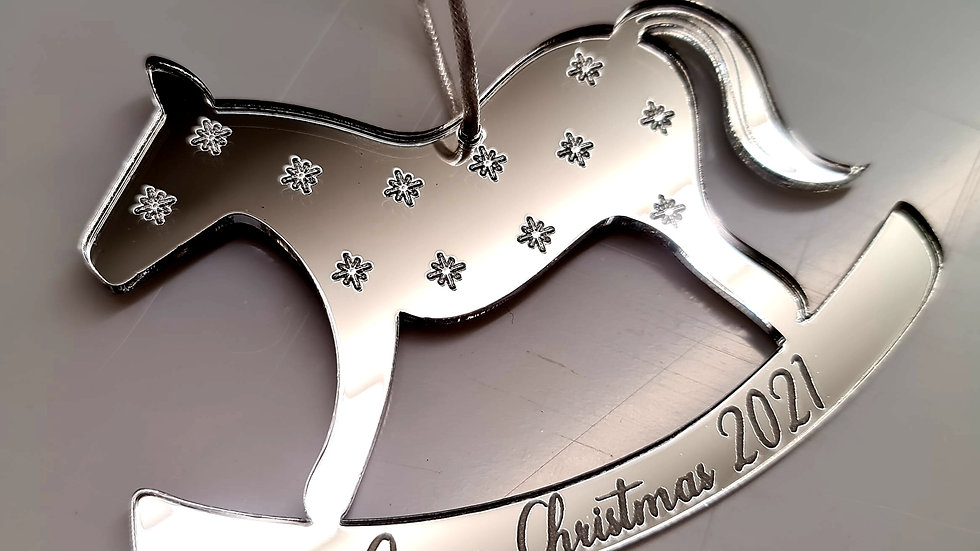 Personalised engraved Christmas rocking horse ornament