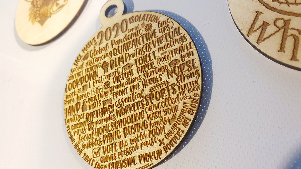Covid name tag 10cm wooden engraved bauble