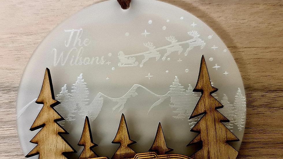 Campervan frosted engraved hanging ornament