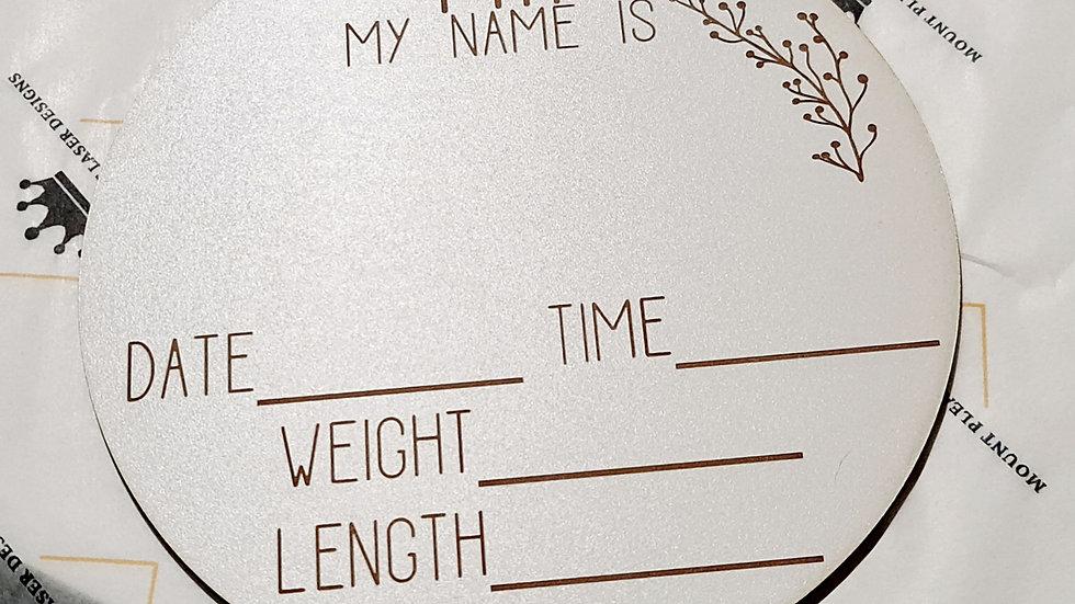20cm engraved wooden birth announcement disc