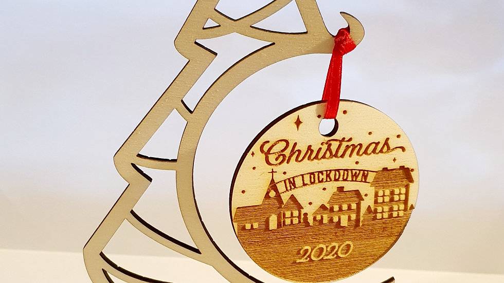 Christmas in lockdown free standing ornament 18x11cm