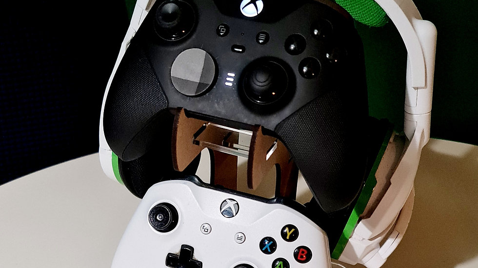 Wood and acrylic controller and headset stand