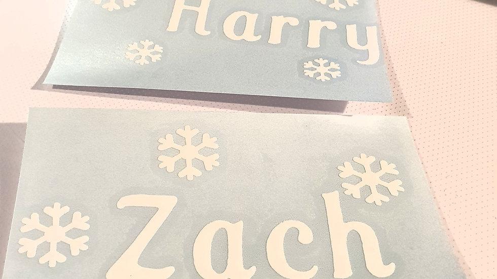 Personalised snowflake self adhesive vinyl decal