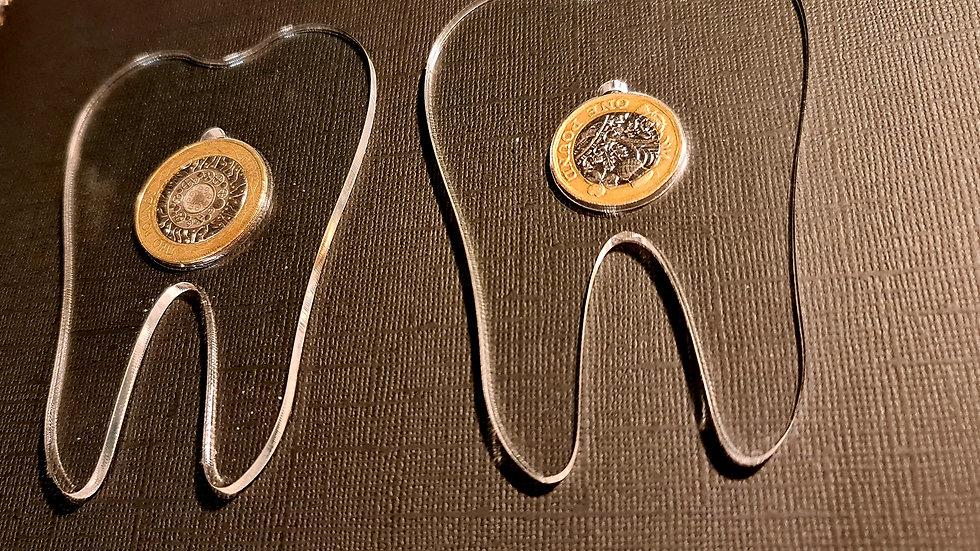 Blank acrylic tooth coin holder