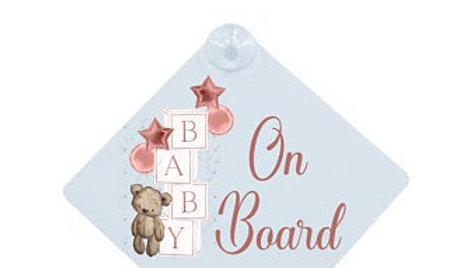 BLANK baby on board acrylic sign with suction cup