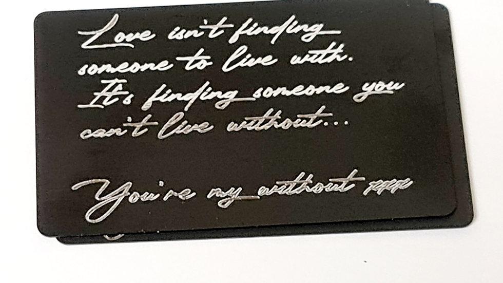 Engraved matte black wallet/purse insert