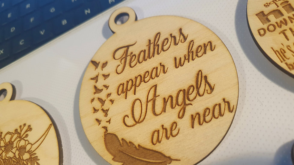 Feathers appear when angels are near 10cm wooden bauble