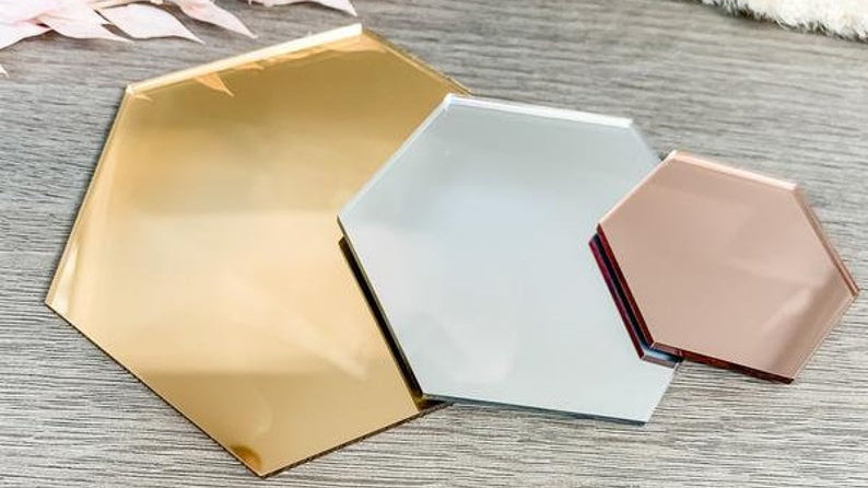 Mirrored acrylic hexagon 5x5cm