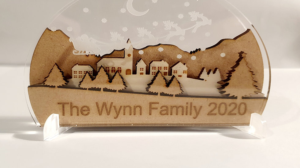 Freestanding engraved Christmas Town ornament