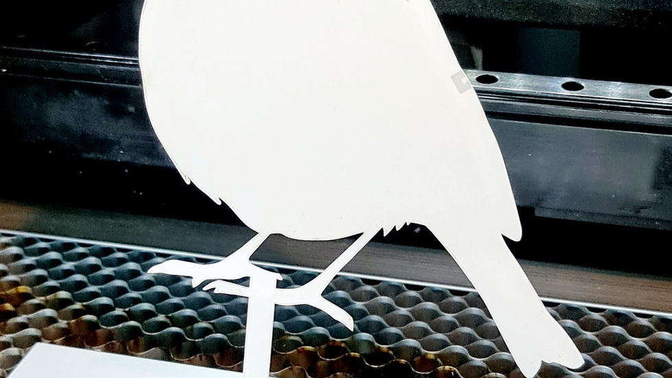 2mm clear acrylic robin garden/grave/planter on stake