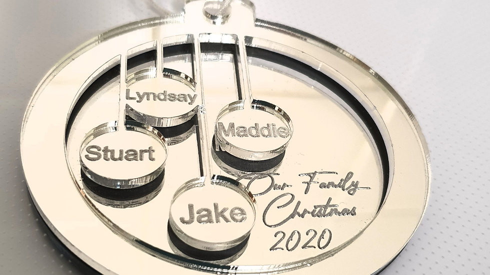 Silver mirror family bauble