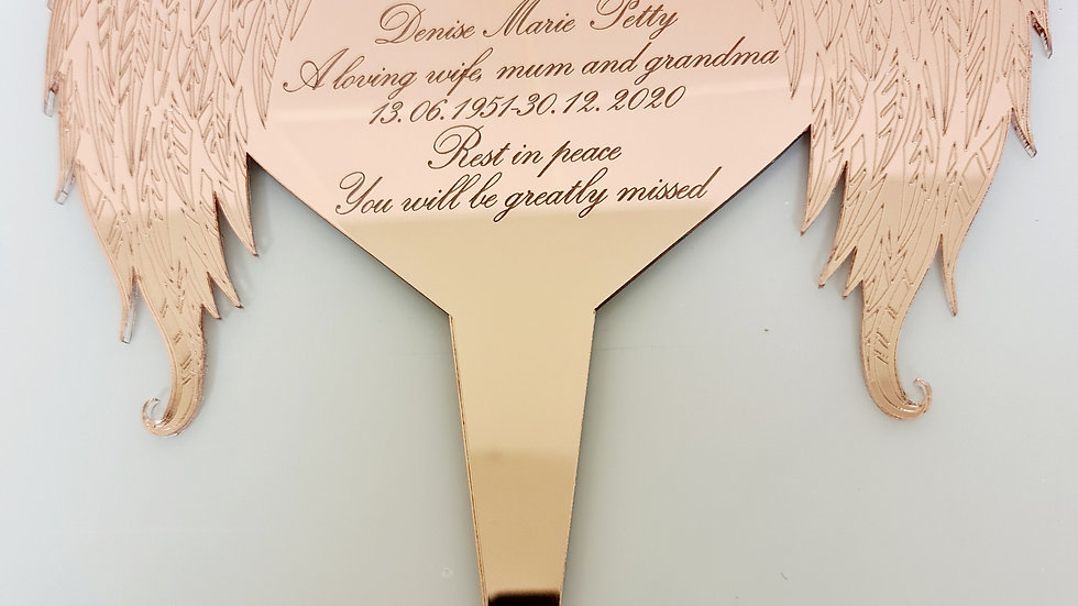 engraved memorial heart with angel wings grave/memorial stake planter