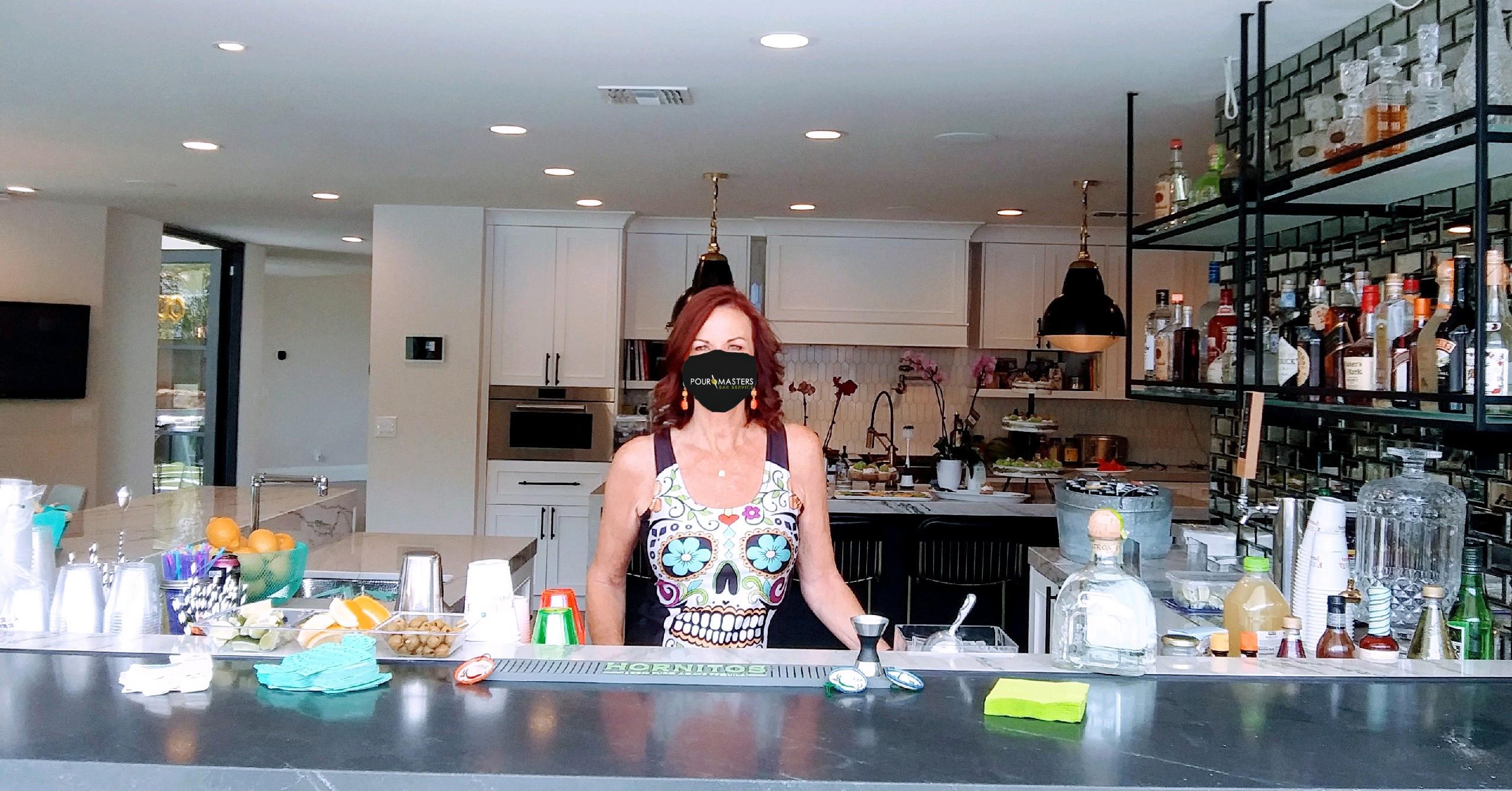 Bartender wearing a mask