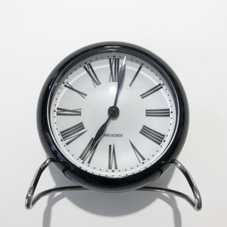 TABLE CLOCK ROMAN BLACK