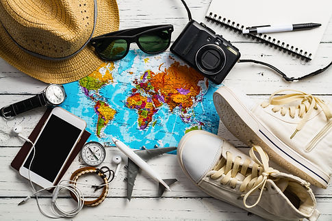 Overhead view of Traveler's accessories,