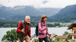 Senior pensioner couple with nordic walk