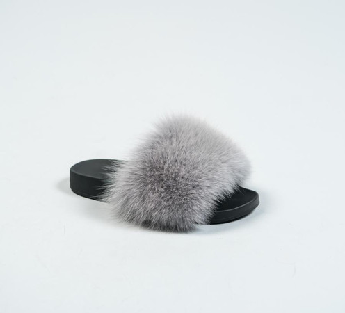 32b230711ee7 Grey Fox Fur Slides  €85.00 €45.00