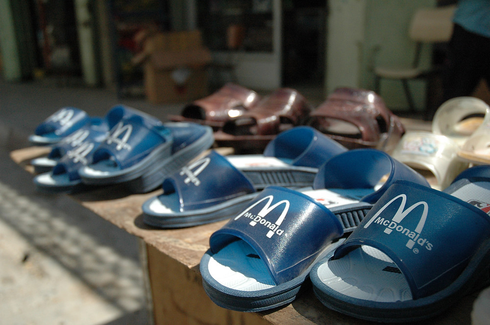 Children's shoes in Hebron. Picture taken by Justin McIntosh, August 2004.