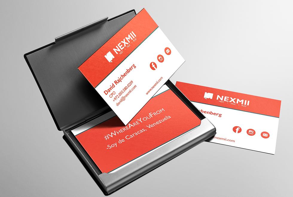 Nexmii business card design and branding