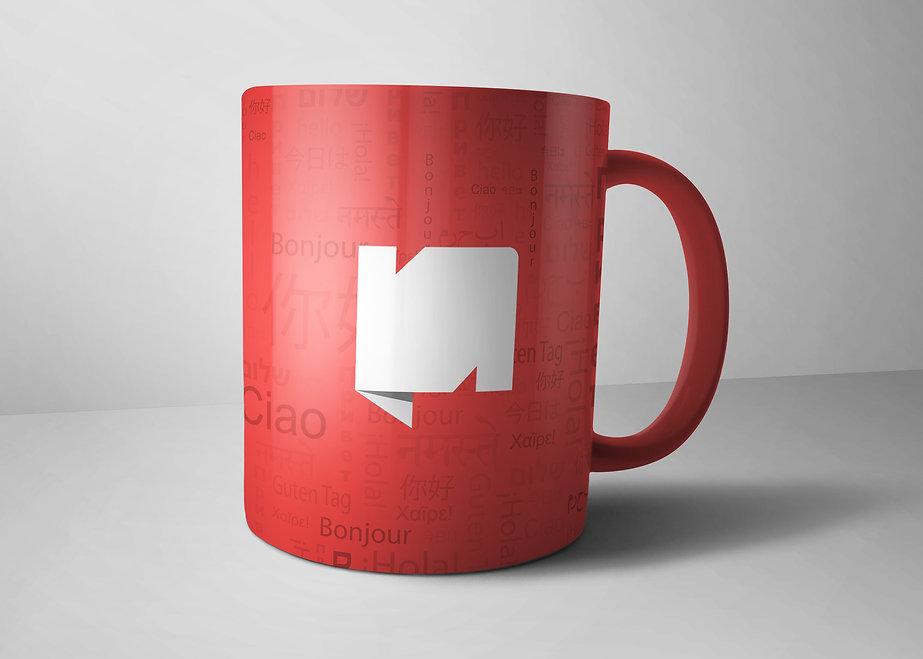 Nexmii branded mug. language learning startup