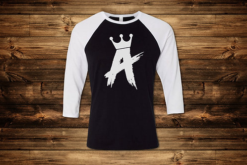 MENS 3/4 White/Black Baseball Tee