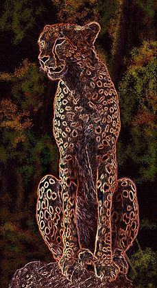 "Neon Cheetah, 18""x32"""