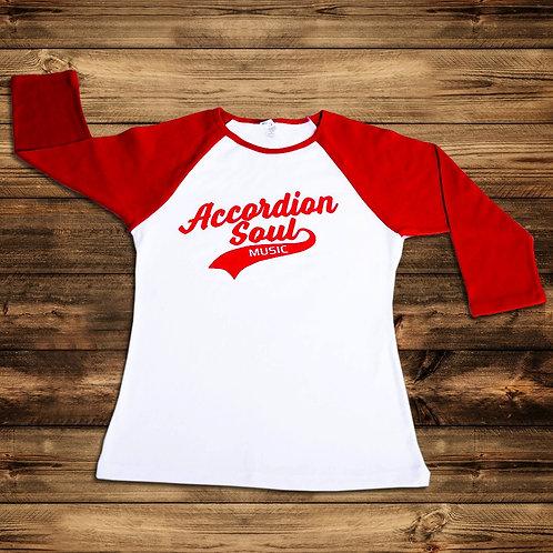 Women's 3/4 Red Sleeve Baseball Tee