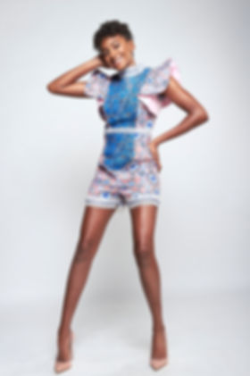 Hollywood Princess Shailyn Pierre Dixon Floral Denim Flared Sleeve Top and Paneled Lace Deco Shorts