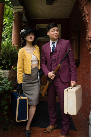 Bonnie and Clyde Theme for Stylized Engagement Shoot