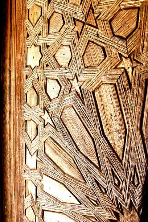 Carving on wooden door, Medersa Ben Youssef, Marrakech