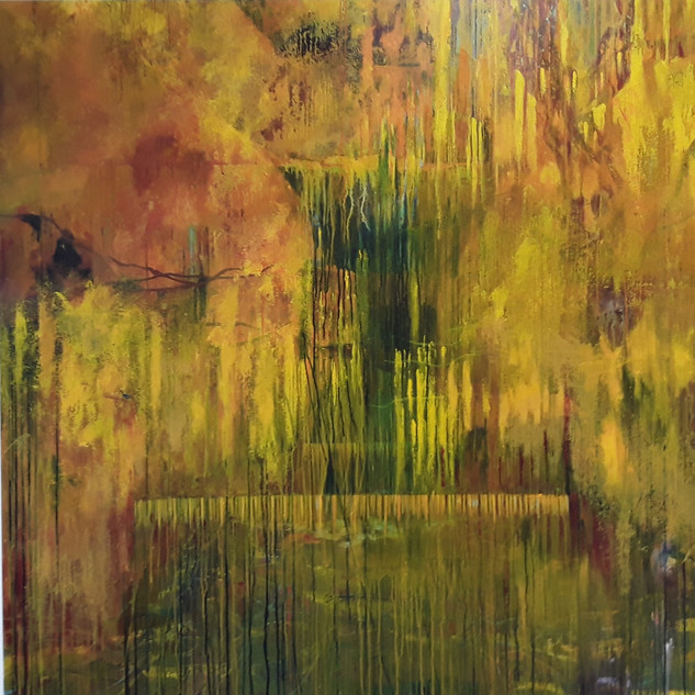 John Potter 'Yellow River', 2019 Acrylic on canvas, 150 x 150cm Price on request