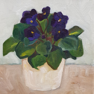 African violet Oil on Canvas, 20 x 20cm £140 Nicki Rolls  Signed giclee print available, 21 x 21 cm  £30 All my works are available for viewing prior to purchase - feel free to email.