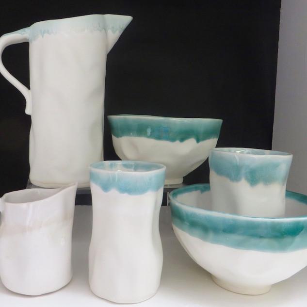 Jug, beakers,bowls and creamer