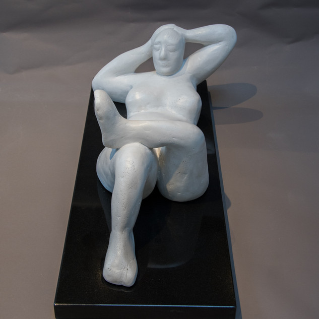 Najha Saleh Relaxation Jesmonite powder mixed with Marble white liquid & statues marble base 58x28cm £550 www.najhasaleh.com