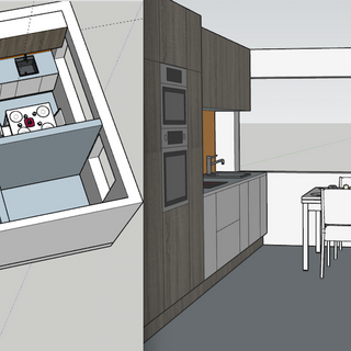 Small Flat - SketchUp Repositioning kitchen allows for a dining area near the window