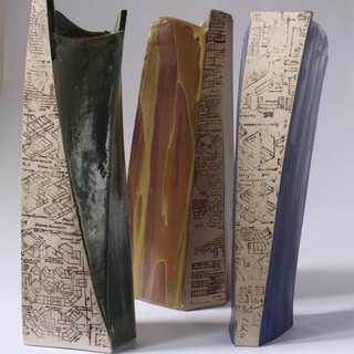 Range of stoneware slab built containers (About 40cm high) £90 each Irek Gajowniczek 07986609977