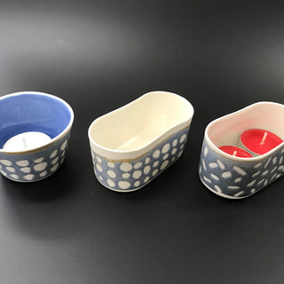 Tealights porcelain, £14 / £16 Please email or text Siglint Kessler 07730871780