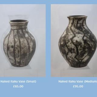 Peter Smith Naked Raku Vases Stoneware Available to buy at: www.petersmithceramics.uk