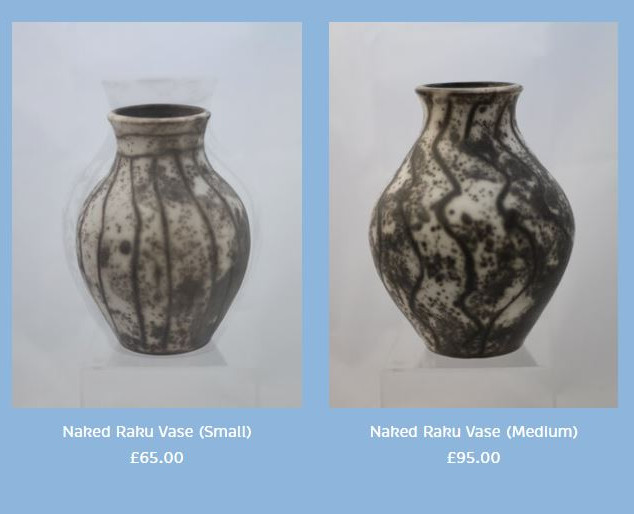 Peter Smith Naked Raku Vases Stoneware Available to buy at: www.petersmithceramics.uk