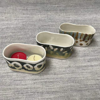 Double tealights, porcelain, various pattern designs  £14 / 16 Please email or text Siglint Kessler 07730871780