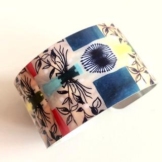 Vintage Kitchen Textile design Aluminium bangle. £42  Monica 07887677332