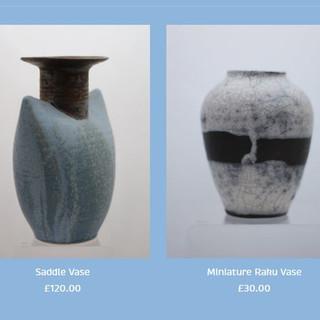 Peter Smith Saddle Pot and Raku Vase Available at: www.petersmithceramics.uk