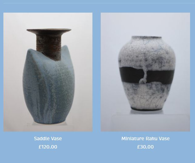 Peter Smith Saddle Pot and Raku Vase Available at: www.petersmithceramics.uk