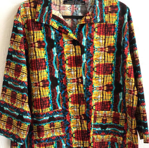 Digital print multicolour cotton art shirt. £145
